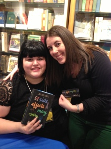 Me and Julie Murphy at Books of Wonder, where she signed my brand new copy of SIDE EFFECTS MAY VARY!